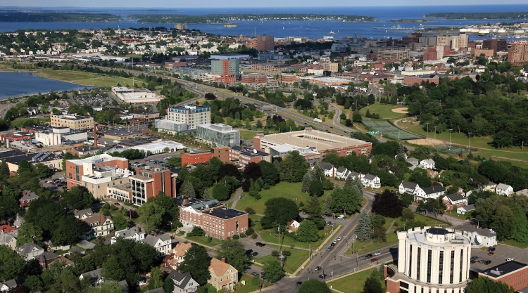 Aerial view of USM Portland Campus