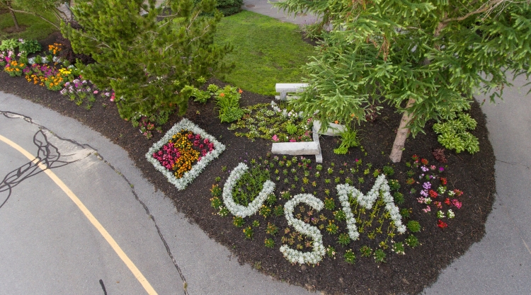 Aerial photo of a garden at USM