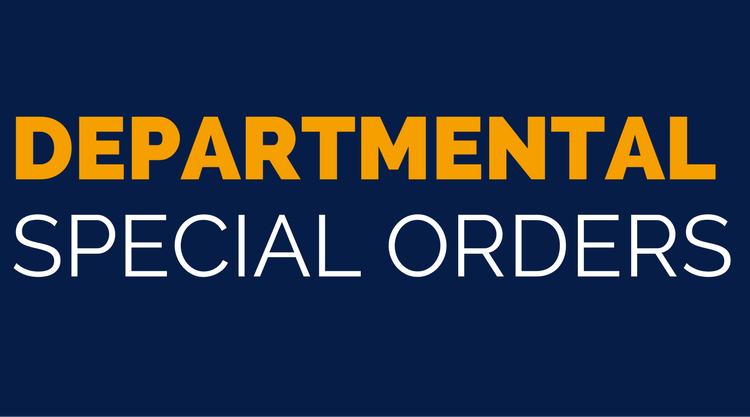 Departmental Special Orders