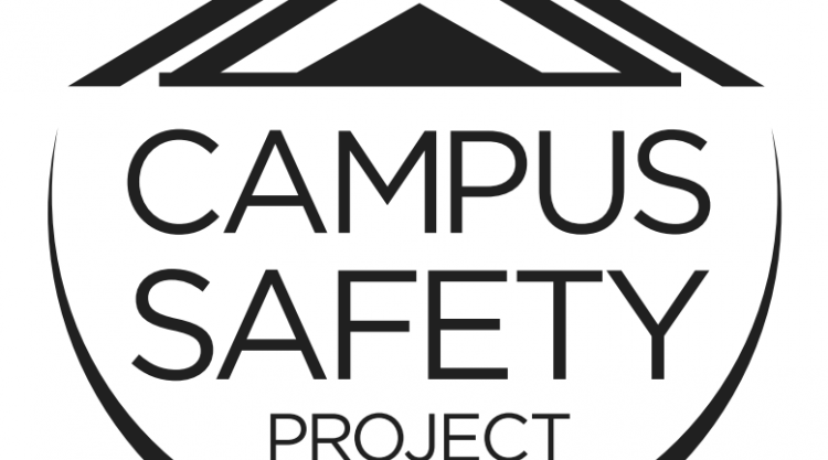 Logo for Campus Safety Project with half moon below the text and roof peaks above the text