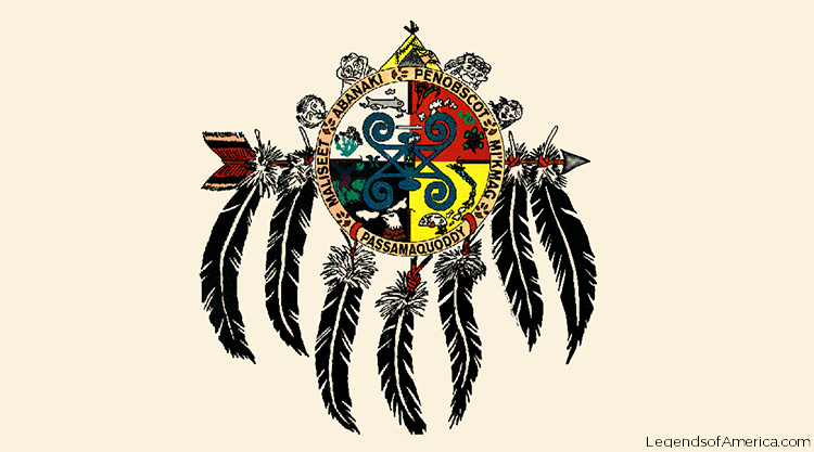 Crest for the Wabanaki Confederacy with seven feathers hanging from a center circle surrounded by primitive faces. Circle is divided into four areas of colors with images representing the many tribes of the Wabanaki.