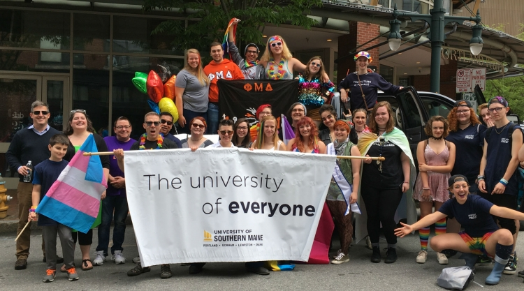 LGBTQ+ students and their allies gather to march in the Pride Portland parade