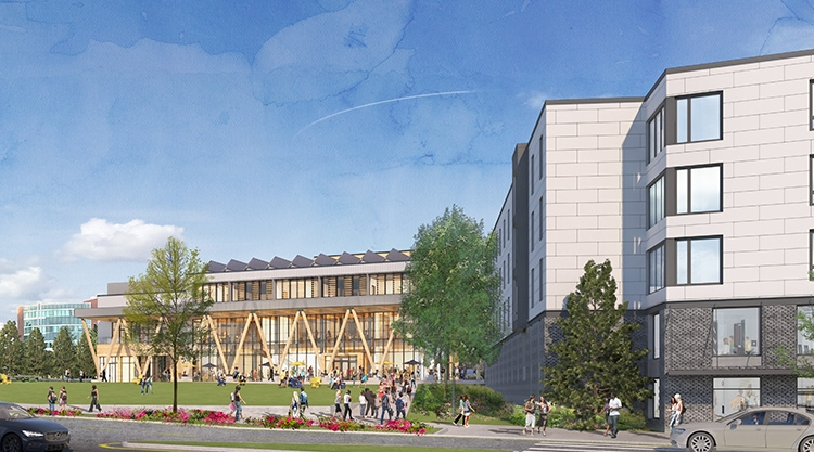 A rendering of the future student facilities on the USM Portland campus.