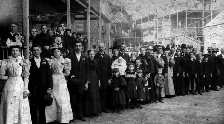 1.The wedding party and guests at the April 1897 marriage of Marie Philippon and Alfred Tancrel. The photo was taken in the backyard of the Tancrel property at 24 River Street, Lewiston.
