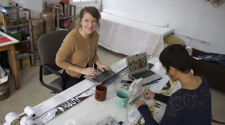 Emily Simons of Beehive Design Collective in USM residency