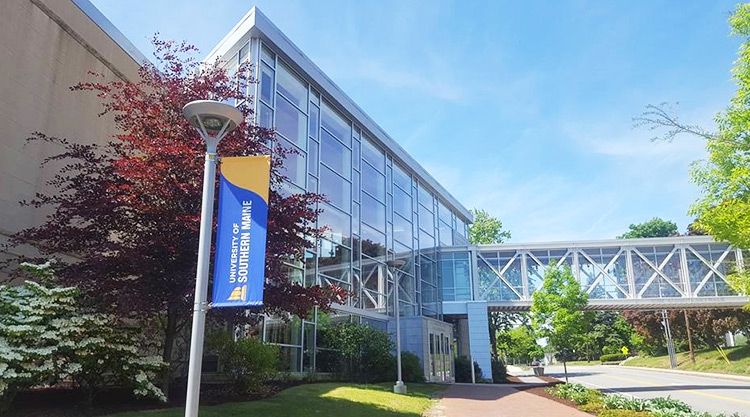 A view of the outside of Abromson Community Education Center on the University of Southern Maine Portland campus