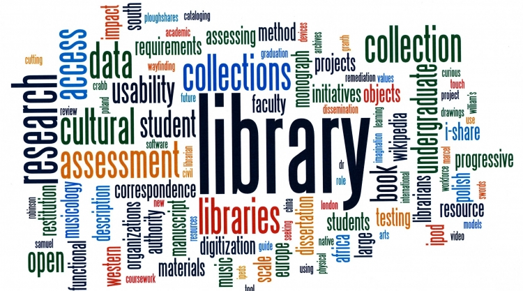 Image made of words describing the library and research process