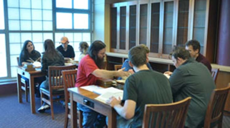 Students use resources in Special Collections reading room.