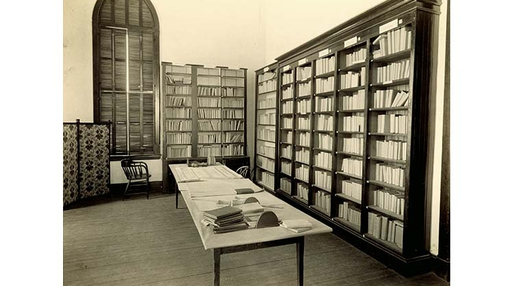 The Library at Gorham Normal School, 1880s.