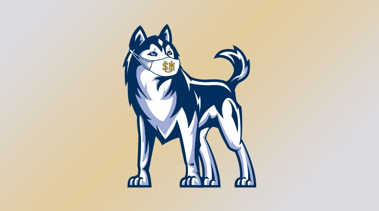 An illustration of our husky mascot wearing a mask against a gold gradient on a grey background.