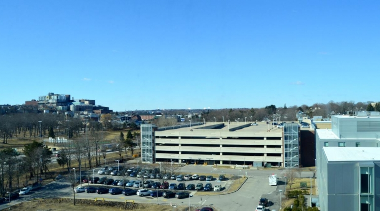 Aerial of the Portland Campus Parking garage and parking lot.