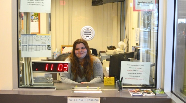 The Parking and Transportation Office on the Portland Campus with worker Eva Bean.