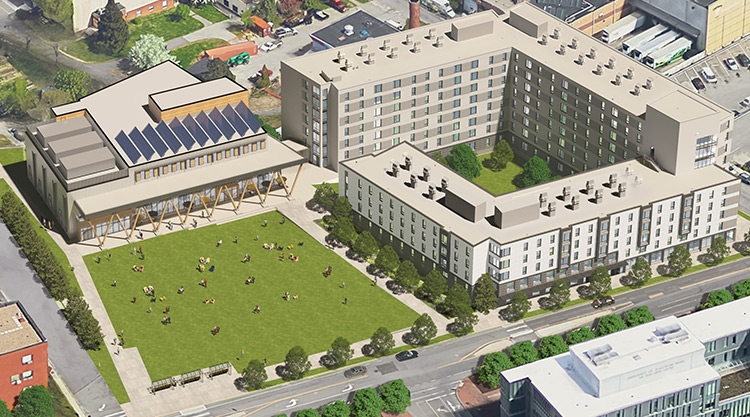 An architectural rendering of the aerial view of the new Residential Quad on the University of Southern Maine Portland campus.