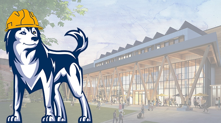 An graphic of the University of Southern Maine (USM) mascot, Champ, superimposed in front of an architectural rendering of the new Career & Student Success Center on the USM Portland campus.