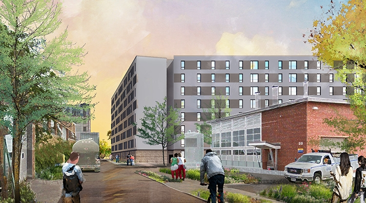 An architectural rendering of the new Portland Commons Residence Hall on the University of Southern Maine Portland campus.