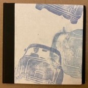 "Cloth-bound Dos a Dos, gel, block, and trace monotype prints. 6 1/2"" x 6 3/4"""