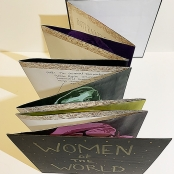 "Accordion book; Acrylic, chipboard, and scrapbook paper.  8.25"" x 8.25"""