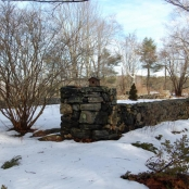 The Stone House garden in the winter.