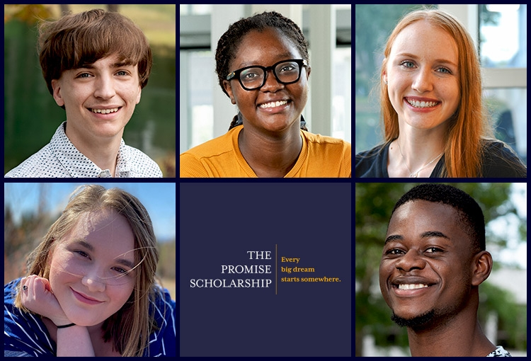A composite image of five of our Promise Scholars arranged in a collage of squares. Logo in the bottom center space reads, The Promise Scholarship | Every big dream starts somewhere.