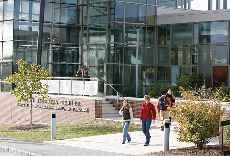 Students outside the John Mitchell Center on the Gorham campus