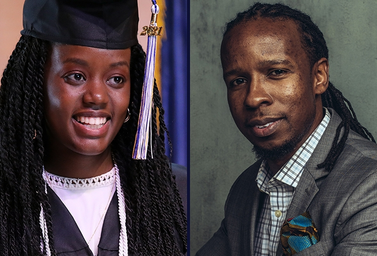 A photo composite of 2021 USM Commencement speakers Grace Muheto and Dr. Ibram X. Kendi