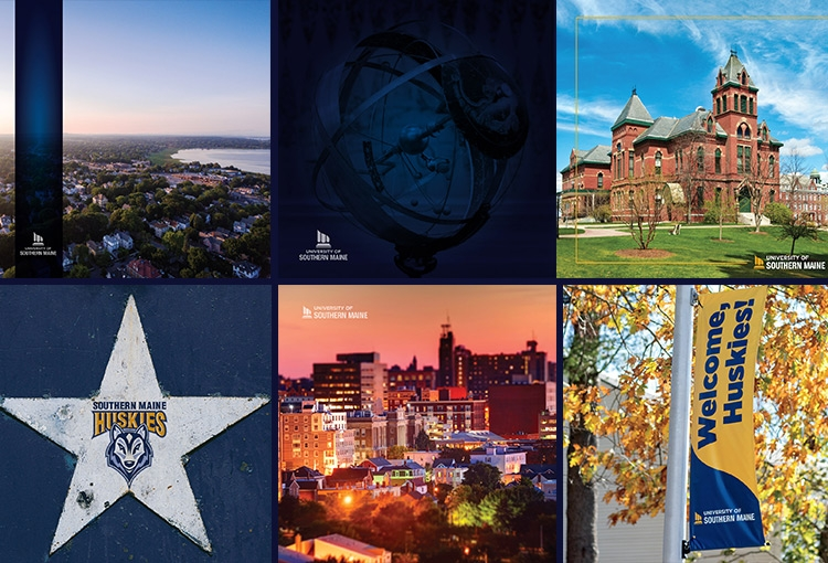 A composite image of our digital swag offerings. Clockwise: Back Cove, a celestial indicator globe from our Osher Map Library, Corthell Hall on our Gorham campus, our Southern Maine Huskies logo centered in a star against a dark blue background, Portland's Old Port, a Welcome, Huskie's light pole banner on our Portland campus.