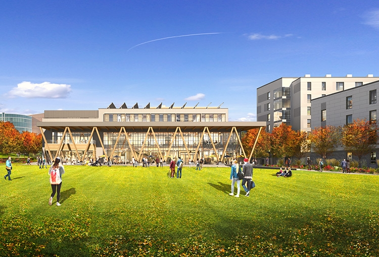 An architectural rendering of what the new student center and residence hall will look like once completed.