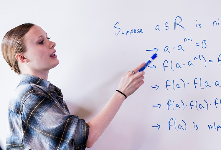 Tutor standing at a white board, pointing with a marker.