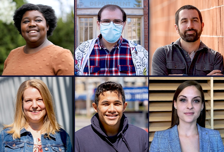 A composite image featuring headshots of six students