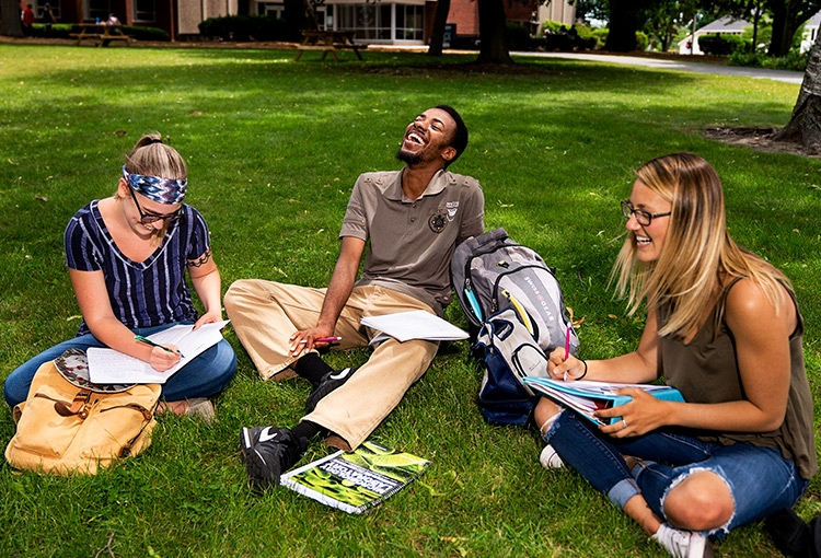 Students on the Portland campus green