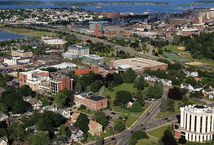 An aerial view of our Portland campus