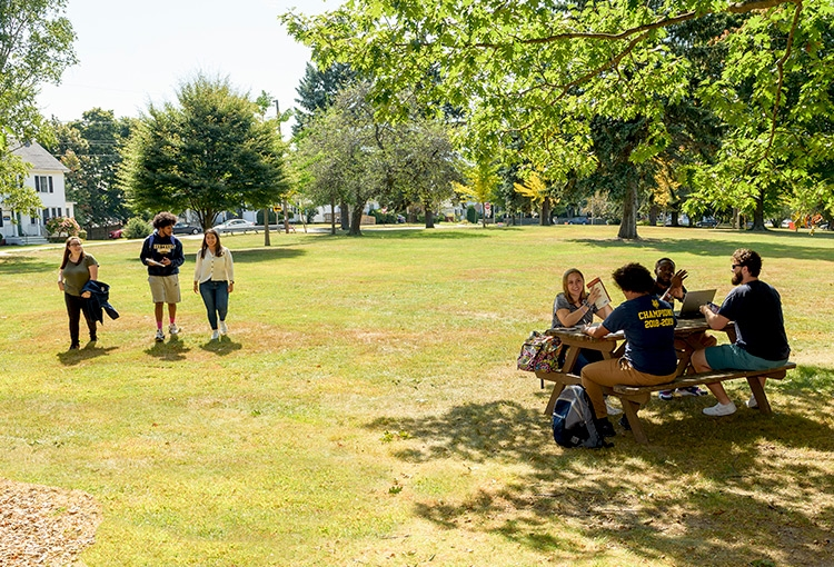 Three students walking past a group of students seated at a picnic table on our Portland campus green