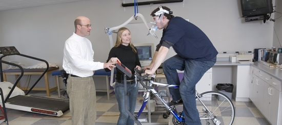 faculty and students in human performance lab