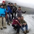 Prof Tracy Michaud Stutzman and Tourism and Hospitality students hiking glacier in Iceland