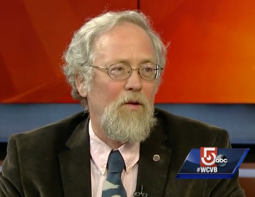 Photo of ESP Professor Rob Sanford on the set of CitiLine on Ch 5 Boston