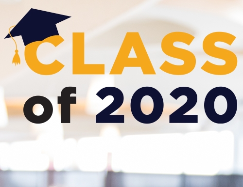 A graphic with the words 'Class of 2020' and a graduation cap.