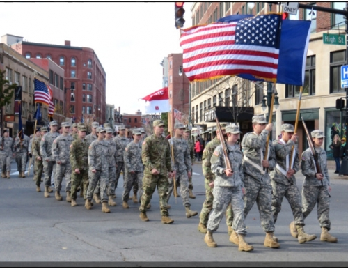 Wildcat Battalion marching in 2014 Veterans Day Parade