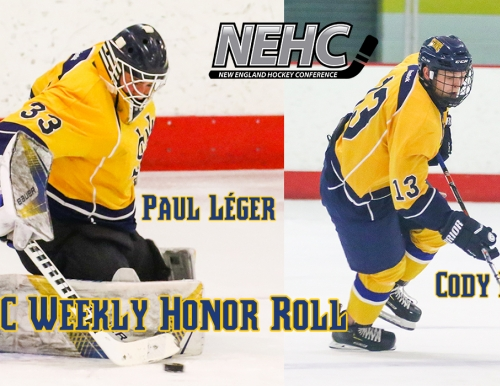Men's ice hockey players Paul Leger and Cody Braga action shots