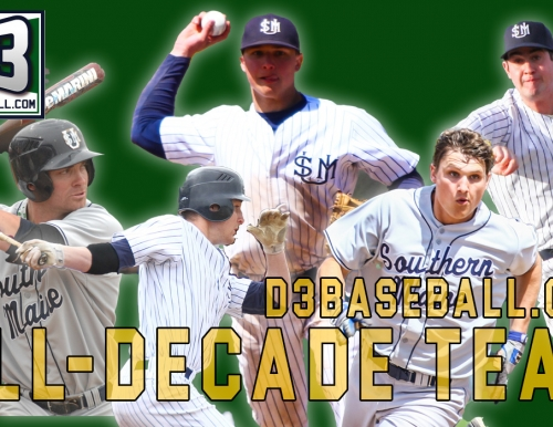 Graphic of the five Southern Maine baseball players named to the D3baseball.com All-Decade Team
