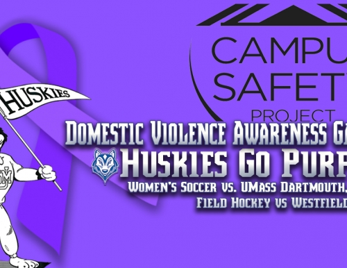 Purple Domestic Violence Awareness Ribbon Graphic with USM Athletics Logos