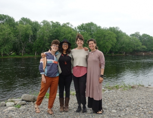 photo of In Kinship Archives & Performance Fellows Devon Kelley-Yurdin, Lilah Akin, Tyler Rai, and Emilia Dahlin
