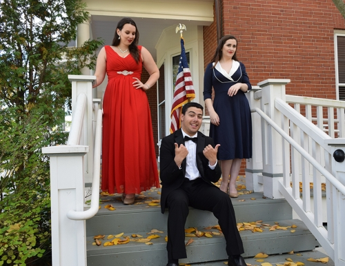 "Rachel Shukan, Sean Arsenault and Meg Ward in ""Of Thee I Sing"""