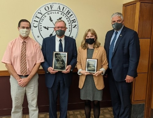 Raegan Young, pictured  above with (left to right) Andrew Hart (MTCMA), Peter Crichton (Retired City Manager), Phil Crowell (Current City Manager) after receiving the 2020 Dr. Edward F. Dow Award for Future Leaders in Public Administration on October 19th, 2020.