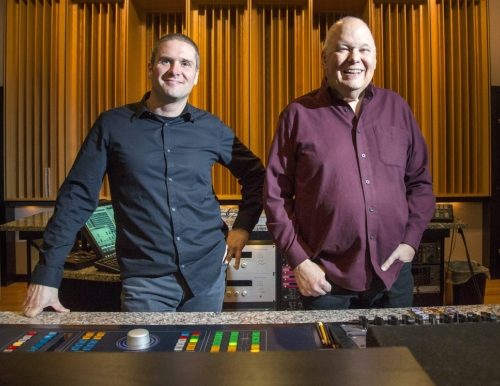 Photo of USM faculty member Adam Ayan, left, and Bob Ludwig, right, inside Gateway Mastering S