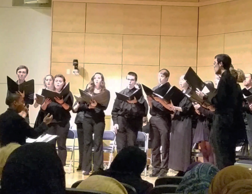 Photo of the USM Chamber Singers singing at an Oct. 12 event recognizing author W.E.B. Du Bois
