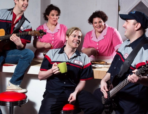 """Photo of the cast of """"Pump Boys & Dinettes"""", courtesy of the Portland Press Herald"""