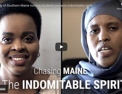A screenshot from the YouTube video on USM School of Nursing students Fabiola Jenson and Fartun Hirsi