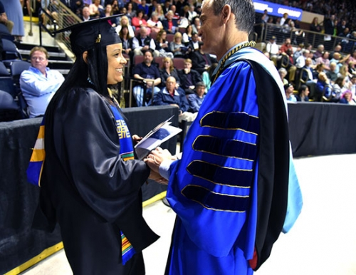 2017 Commencement_Melissa Cunningham and Pres Cummings