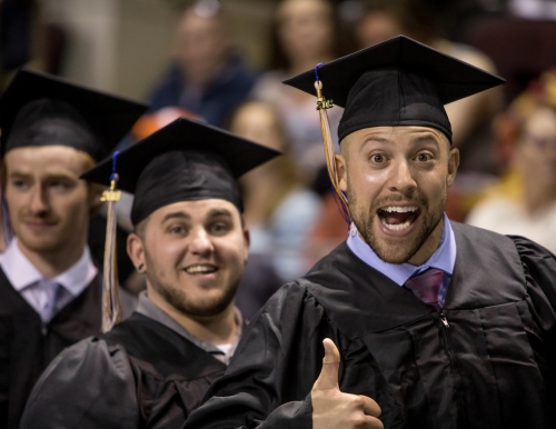 student at commencement 2018