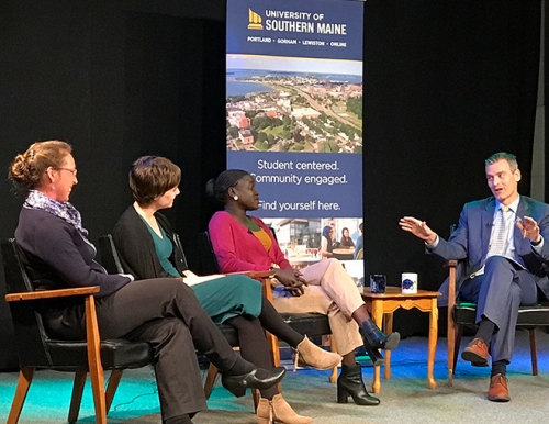 President Cummings interviewing guests from the School of Education and Human Development and Portland Empowered on the set of the USM update